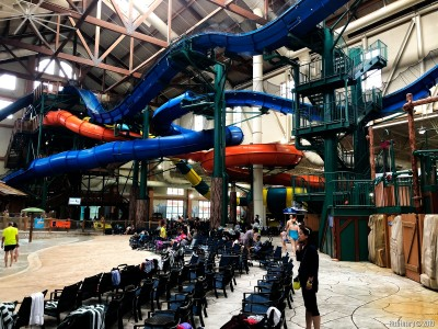 Water slides at Great Wolf Lodge.