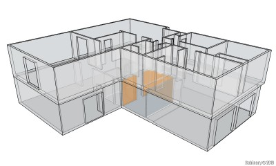 Full house with transparent walls.