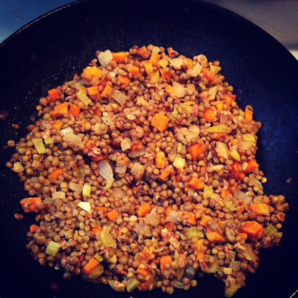 Lentils with Bacon (via Instagram)