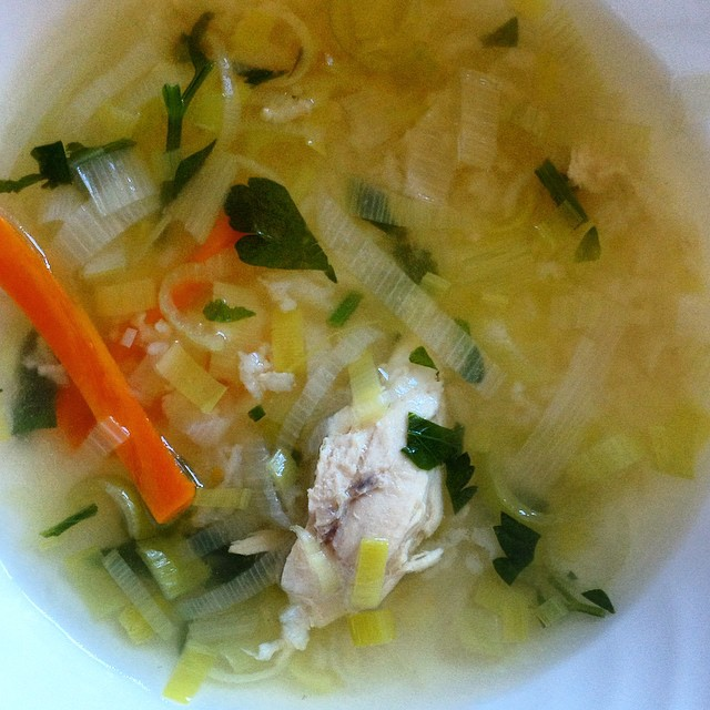 Leeks & Rice Chicken Soup